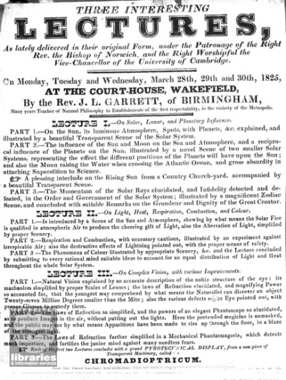 Notice of lectures at the Court House, Wakefield, 1825